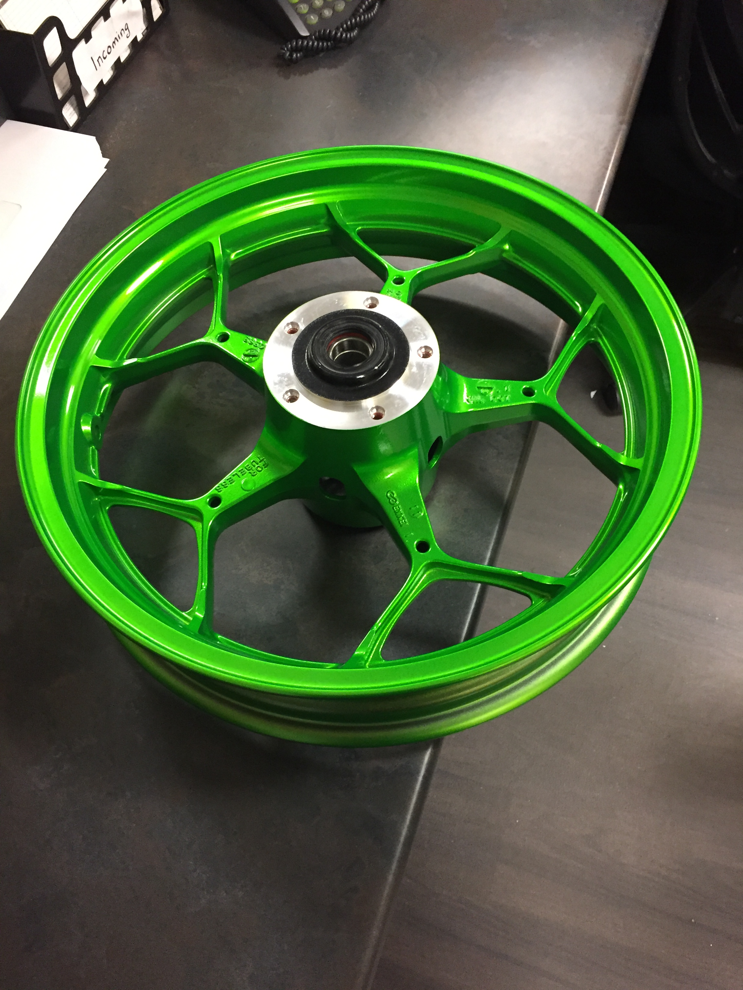 green bike wheel